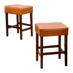 Great Deal Furniture - Malachi Leather Backless Counter Stools (Set of 2), Hazelnut - The Malachi Counter Stools offer a sophisticated touch to any transitional space in your home. With its contemporary lines, neutral colors, and convenient backless structure, you'll enjoy the look and feel of this stool in your bar or dining space.