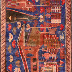"""ALRUG - Handmade Multi-colored Oriental Tribal Pictorial Rug 3' 1"""" x 4' 4"""" (ft) - This Afghan Pictorial design rug is hand-knotted with Wool on Wool."""