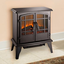 Pleasant Hearth 20 in. Electric Stove - Matte Black - The Pleasant Hearth 20 in. Electric Stove - Matte Black with tempered safety glass doors provides all the warmth and ambiance without the mess and hassle of traditional wood-burning stoves. This all-electric unit with traditional stove case design is made from a steel body with plastic legs and a handsome, matte black finish. The 20-inch firebox uses two 40-watt bulbs to create a mesmerizing fire effect while a 2-stage fan forced air heater emits up to 4,600 BTUs of heat. The electric stove is environmentally friendly, reduces energy costs, and makes a terrific focal point for any home or office space. About GHP GroupGHP Group creates electric fireplaces, accessories, log sets, and other heating options found in homes across America. With years of experience and a close attention to detail, their products exceed industry standards of safety, quality, durability, and functionality. Whether you're warming a room or just making a relaxing glow, there's a GHP Pleasant Hearth product for you.