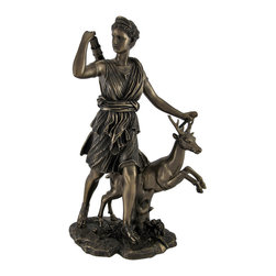 Bronzed Artemis Greek Goddess of the Hunt Statue Roman Diana - This bronzed figure is an artistic interpretation of Leochares` famous sculpture, `Diana of Versailles`. With an exquisitely detailed design, this statue depicts Artemis, aka Diana, the Greek and Roman goddess of the hunt, hunting beside her stag companion. Emphasized by a smooth bronzed finish, the streaming folds of Artemis` tunic and the intricate design of her sandals attest to the incredibly detailed craftsmanship of the figure. The statue, constructed from cold cast resin, measures 11 1/2 inches tall, 7 1/2 inches long, and 5 inches wide. This beautiful piece is a great mythological accent for any home. Pray to the goddess of the hunt before every hunting trip to assure that you bag that big game.