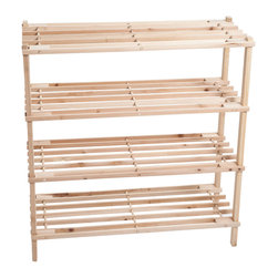 Trademark - Lavish Home Wooden 4-shelf Shoe Rack - Keep your shoes organized and safe with this truly lovely blonde wooden shoe rack. This durable and spacious shoe rack can easily hold up to twelve pairs of shoes,or any other kind of footwear you might have.