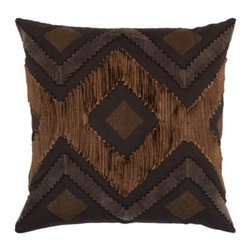 """Z Gallerie - Paragon Pillow 24"""" - Inspired by graphic chevron and diamond decorative elements, our Paragon Pillow boldly defines our interpretation of a chic geometric print. Our multi-dimensional pattern comes alive by chocolate brown diamond and zig-zag fabric patches juxtaposed atop a soft chocolate brown background, making for a dimensional and striking pillow. The generously sized 24 inch square pillow is filled with a sumptuous feather and down insert and a hidden zipper."""