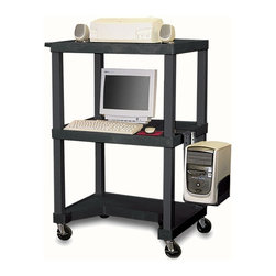 H. Wilson - Tuffy 24 in. Computer Workstation - Includes 3-outlet UL listed electrical assembly with 15 ft. cord. Pull-out keyboard tray. 4 in. silent-roll full swivel casters. Chip, warp, crack, rust or peel resistant. 0.25 in. safety retaining lip. Raised texture surface that enhances product placement. Ensures minimal sliding. Convenient leg room cut out in bottom shelf. Cord management wrap. Three cable management clips. Electrical attachment is recessed to insure passage through most standard doorways. Maximum weight capacity: 125 lbs.. Made from engineered thermoplastic resin injection molded. Assembly required. 32 in. L x 24 in. W x 48.5 in. H. Warranty