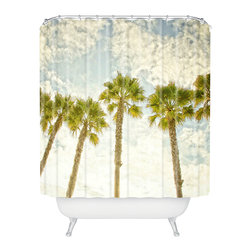 DENY Designs - Shannon Clark Palm Trees Shower Curtain - Who says bathrooms can't be fun? To get the most bang for your buck, start with an artistic, inventive shower curtain. We've got endless options that will really make your bathroom pop. Heck, your guests may start spending a little extra time in there because of it!