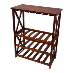 Casual Home - Furniture Montego X Wine Rack (Espresso) - Finish: EspressoClassic styling. Hold wine glasses and 18 bottles of wine . Top shelf perfect for serving. Warranty: 90 days. Made from solid wood. Assembly required. 36 in. W x 28.5 in. D x 14 in. H (26 lbs.)