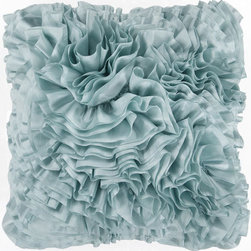 Surya Rugs - Blue Haze Ruffle 22 x 22 Pillow - This pillow brings the best of style in to your space. With lacy, ruffle features, this decorative pillow is a thing of beauty. The color light blue accents this fabric. This pillow contains a poly fill and a zipper closure. Add this 22 x 22 pillow to your collection today.  - Includes one poly-fiber filled insert and one pillow cover.   - Pillow cover material: 100% Polyester Surya Rugs - BB033-2222P