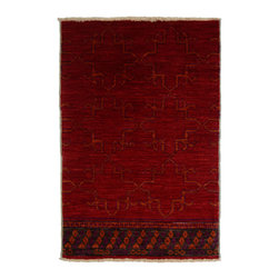 Hand-Woven Afghani Rug - This handmade rug was woven in Afghanistan. Deep red with umber undertones, this is a high quality carpet made with the finest wool. Its one-sided border gives it a really unique look and feel.