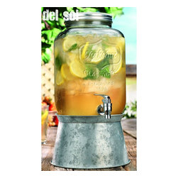 "Home Essentials - Glass Yorkshire Mason Drink Dispenser with Metal Base - Celebrate the simple elegance of days gone by with the American classic: sweet iced tea in our vintage mason jar beverage dispenser! Featuring an innovative stand that doubles as a beverage tub, this drink dispenser is adorable and ultra functional. Perfect for both formal and informal celebrations, the metal lid screw on for a secure fit, while the wide openings make refilling and cleaning as easy as dispensing! Punch, cocktails and even just plain water take center stage in this terrific clear glass drink dispenser complete with an easy pour spout! * Capacity: 2 gallons * Dimensions: H: 12.5"" W: 7.5"" (without stand)"
