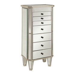Powell - Powell Mirrored Jewelry Armoire w/ Silver Wood - Mirrored Jewelry Armoire w/ Silver Wood belongs to Miscellaneous Jewelry Armoires Collection by Powell This modern jewelry armoire provides ample safe storage space for all of your bits and baubles.  The top opens to reveal a mirror to help you adorn yourself! Finished in a bold silver and accented with mirror, this piece is both eyecatching and fun.  Some assembly required.  Armoire (1)