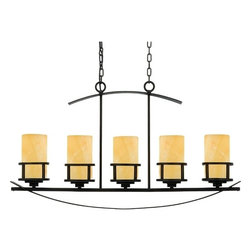 Linear Island Pendant Light in Dark Bronze Finish and Onyx Shades -