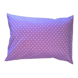 """A Little Pillow Company - A Little Pillow Company: Toddler Pillowcase (Envelope Style), Purple Polka Dots - Wrap """"A Little Pillow Company"""" pillow in only the best!  This envelope-style toddler pillowcase is Made in the USA from a 100% soft cotton fabric."""