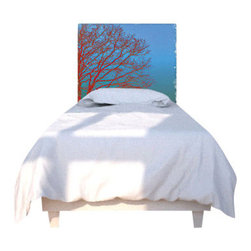 NOYO - Orange Tree Headboard, Twin - Don't lose sleep over a boring headboard. Instead, embrace a new idea in bedroom decor: A whole series of machine-washable slipcovers that fit over a cedar frame. Tonight, an elegant silhouette of branches; next week, whatever you dare to dream of.