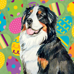 Caroline's Treasures - Bernese Mountain Dog Easter Eggtravaganza Flag Garden - Garden Flag ...The Garden size flag is made from a 100% polyester material. Two pieces of material have been sewn together to form a double sided flag. This allows the text and image to be seen the same from both sides. This flag is fade resistant and weather proof. The flag measures approximately 11 inches x 15 inches (garden stand sold separately)