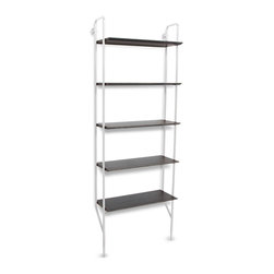 Blu Dot - Blu Dot Hitch Bookcase, White / Smoke - Powder coated steel uprights in three colors and two shelf finish options make you the master of your own book case destiny. Single units stand alone. Gang up multiples to create mass appeal with the Hitch Add-on Bookcase.