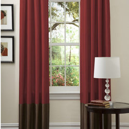 Lush Decor - Lush Decor Prima Red/ Chocolate Curtain Panels (Set of 2) - Faux-silk curtain panels in chocolate and red add an artistic flair to a modern living area. The grommets make it easy to open and close the curtain panel set,and the faux-silk material has a lining to prevent fading and save energy.