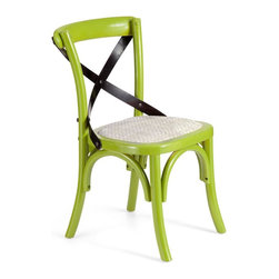 Zuo Modern - Side Chair in Green Finish - Set of 2 - Set of 2. Straw cushion. Warranty: One year limited. Made from elm wood and rattan. Assembly required. Seat Width: 14 in.. Seat Depth: 13 in.. Seat Height: 13.4 in.. Overall: 15.7 in. W x 16.7 in. D x 25 in. H (6.8 lbs.)