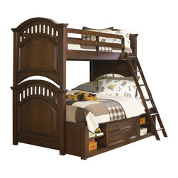 Samuel Lawrence - Samuel Lawrence Furniture Expedition Twin/Full Bunk Bed with Underbed Storage in - Expedition is a youth collection with an inviting appeal that suggests style, function and elegance of design. The pleasing American Cherry finish blends with any d&eacutecor allowing you to make a fashion statement and put fun into decorating with an assortment of items that is sure to create a just right environment. Versatile and adaptable to any age, Expedition is sure to be a favorite choice of many families looking for a collection that will age gracefully and provide timeless long term appeal.