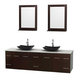"Wyndham Collection - Centra 80"" Espresso Double Vanity, White Carrera Marble Top, Black Granite Sinks - Simplicity and elegance combine in the perfect lines of the Centra vanity by the Wyndham Collection. If cutting-edge contemporary design is your style then the Centra vanity is for you - modern, chic and built to last a lifetime. Available with green glass, pure white man-made stone, ivory marble or white carrera marble counters, with stunning vessel or undermount sink(s) and matching mirror(s). Featuring soft close door hinges, drawer glides, and meticulously finished with brushed chrome hardware. The attention to detail on this beautiful vanity is second to none."