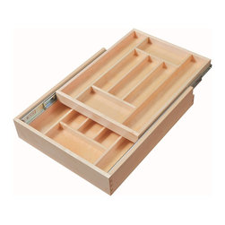 "Century Components - Century Components Double-Tier Silverware Tray Organizer - Double Tier Silverware Tray Organizer - 17-1/2"" W x 21"" D x 4"" H. Fits minimum opening width of 18"". Features (2) drawer levels allowing storage of additional sliverware in the same space. Made from solid maple wood with a clear natural finish for great appearance, quality and durability. Crafted by Century Components model number DTIER17PF-FF."
