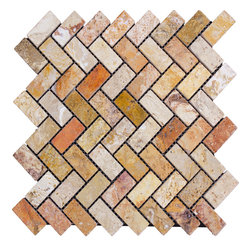 STONE TILE US - Stonetileus 10 pieces (10 Sq.ft) of Mosaic Hering Bone Antique Blend Tumbled - STONE TILE US - Mosaic Tile - Hering Bone - Antique Blend - Tumbled Specifications: Coverage: 1 Sq.ft size:  - 1 Sq.ft/Sheet Sheet mount:Meshed back Stone tiles have natural variations therefore color may vary between tiles. This tile contains mixture of gold - white - light brown - dark brown - yellow - copper - red - ivory - and color movement expectation of high variation, The beauty of this natural stone Mosaic comes with the convenience of high quality and easy installation advantage. This tile has Tumbled surface, and this makes them ideal for walls, kitchen, bathroom, outdoor, Sheets are curved on all four sides, allowing them to fit together to produce a seamless surface area. Recommended use: Indoor - Outdoor - High traffic - Low traffic - Recommended areas: Hering Bone - Antique Blend - Tumbled tile ideal for walls, kitchen, bathroom, Free shipping.. Set of 10 pieces, Covers 10 sq.ft.