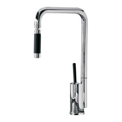 Maestrobath - Bend Snake Brushed Nickel Contemporary Faucet - This luxury single handle kitchen faucet with unique bent neck and orient-able head draws eyes in any kitchen. The high end Italian faucet can accommodate any type of kitchen sink. The contemporary bend snake faucet is easy to install, keep clean and maintain. Modern chrome faucet is also available in chrome finish. The modern faucet is made of lead-free brass. Whether your decorating style is traditional or modern, Maestrobath products will compliment your home improvement project and add a lavish, luxurious feel while protecting your health, safety and the environment.
