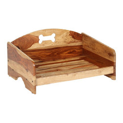 """Wooden """"Rustic"""" Pet Bed Frame, Small - Handcrafted out of gorgeous solid Sheesham wood this sophisticated rustic elevated pet bed will complement your home's decor. The individual grain and characteristics of Sheesham wood ensure no piece is alike, giving you and your pet a bed everyone admires."""