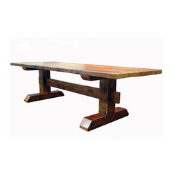 ecofirstart - Reclaimed Timber Trestle Table - Gather your loved ones around for memorable meals and an appreciation of eco-conscious design. This sturdy, rustic table is crafted from salvaged Douglas Fir, milled a century ago, into an impressive piece for your eclectic dining setting.