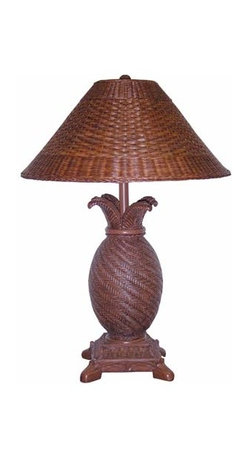 Papila Design - Tropical Wicker Dark Tea Table Lamp with Wicker Shade - -Looks and feels like wicker  -Material: Resin  -Shade Shape: Round Bell  -Shade Material: Wicker, Lining Inside Papila Design - RT820-DT
