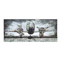 Woodland Imports - Unique Wood Metal Panel Wall Art Airplane Runway Home Accent Decor - Unique wood and metal panel wall art of Propeller airplane on runway set against gray skies home accent decor