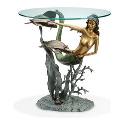 """SPI - Mermaid and Sea Turtles End Table - -Size: 22"""" H x 22"""" W x 22"""" D"""
