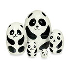 Wood Nesting Doll, Panda - These hand-painted panda nesting dolls are perfect for adding cuteness to any kids' room.