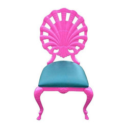 Pre-owned Vintage Venetian shell back grotto chair - Vintage Venetian cast aluminum indoor/outdoor shell back grotto chair. Original green vinyl seat ready got that new Lilly fabric! Refinished in hot pink. The seller has multiple chairs in stock. Please contact support@chairish.com if you're interested in purchasing more than 1 chair.