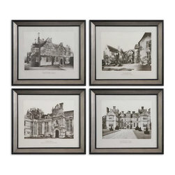 Uttermost - Uttermost 41366  English Cottage Wall Art Set/4 - These architectural prints are accented by frames with black satin inner and outer edges. frame's middle sections are silver leaf with light antiquing.