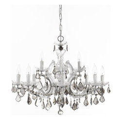 """Horchow - 12-Light Maria Theresa Chandelier - Polished chrome and hand-cut crystals make this chandelier really shine. Uses 12 60-watt bulbs. Mounting hardware and ceiling canopy included. Professional installation recommended. 29""""Dia. x 26""""T with 72""""L chain. Imported."""