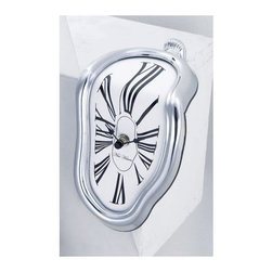 George Nelson - Silver Shelf Sitter Melting Clock - Melting and distorted design. No assembly required. 4.53 in. W x 5.5 in. D x 7.25 in. H