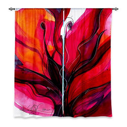 "DiaNoche Designs - Window Curtains Unlined - Kathy Stanion Soul Flower 60 - Purchasing window curtains just got easier and better! Create a designer look to any of your living spaces with our decorative and unique ""Unlined Window Curtains."" Perfect for the living room, dining room or bedroom, these artistic curtains are an easy and inexpensive way to add color and style when decorating your home.  This is a tight woven poly material that filters outside light and creates a privacy barrier.  Each package includes two easy-to-hang, 3 inch diameter pole-pocket curtain panels.  The width listed is the total measurement of the two panels.  Curtain rod sold separately. Easy care, machine wash cold, tumbles dry low, iron low if needed.  Made in USA and Imported."
