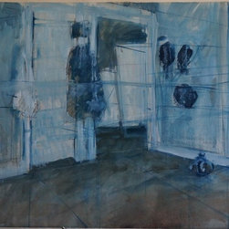 """Tom Hamilton, 1951 - 2011, 'Blue Interiors' Series (70) - 'Blue Interior' Series; signed watercolor on paper; 21""""w. X 21""""h."""