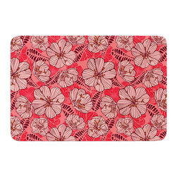 """KESS InHouse - Suzie Tremel """"Flutter Floral"""" Red Petals Memory Foam Bath Mat (17"""" x 24"""") - These super absorbent bath mats will add comfort and style to your bathroom. These memory foam mats will feel like you are in a spa every time you step out of the shower. Available in two sizes, 17"""" x 24"""" and 24"""" x 36"""", with a .5"""" thickness and non skid backing, these will fit every style of bathroom. Add comfort like never before in front of your vanity, sink, bathtub, shower or even laundry room. Machine wash cold, gentle cycle, tumble dry low or lay flat to dry. Printed on single side."""