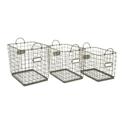 "IMAX - Newbridge Wire Storage Baskets - Set of 3 - Great for linens, magazines and many other items, this collection of Newbridge wire baskets is perfect for a variety of storage uses. Item Dimensions: (13.25-15.25-17""h x 18-20-22""w x 11.5-13.5-15"")"