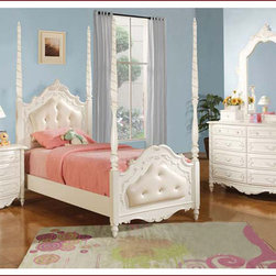 Pearl White Poster Full Bed with Leather Headboard - Leather headboard and footboard;