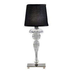 """ITALAMP - ITALAMP 349 Table Lamp - The 349 Table Lamp has been designed and made by Italamp. 349 Table Light is a contemporary lamp made of crystal, glass, metal and fabric. This modern lamp is a beautiful addition in any kind of room, small or large, home, office or hotel settings. The lamp consists of a metal structure which sustains its body in transparent glass with nickel finishes. The 349 lamp is available in two dimensions with white or black colored shade fabric option. The 349 Table Lamp is dimmable and when is turned on the lamp diffuses a parade of light with bright personality. Illumination is provided by E12, 40W Halogen, or 8W Energy Saving or 4W LED bulb (not included).      Product Details: The 349 Table Lamp has been  designed  and made by Italamp. 349 Table Light is a contemporary   lamp made of   crystal, glass, metal and fabric. This modern  lamp is a beautiful addition in any kind of room, small or large, home, office or hotel settings. The  lamp consists of a metal structure which sustains its   body in transparent glass with  nickel finishes.  The 349 lamp is available  in two dimensions with white or black colored shade fabric option. The 349 Table Lamp is dimmable and when is turned on the lamp diffuses a parade of light with bright personality. Illumination is provided by E12, 40W  Halogen,   or 8W Energy Saving or 4W LED bulb (not included). Details:                         Manufacturer:            Italamp                            Designer:            Italamp                            Made in:            Italy                            Dimensions:                        Small: 349/LP: Diameter: 6""""(15.2cm) X Height: 18.9""""(50.3cm)             Large: 349/LG: Diameter: 11.1""""(28.2cm) X Height: 22.9""""(58.2cm)                                         Light bulb:                        Small: 349/LP: E12, 1x40W Halogen / 1x8W Energy Saving / 1x4W LED bulb (not included)             Large: 349/LG: E26, 1x100W Halogen / 1x20W Energy Saving / 1x10W"""