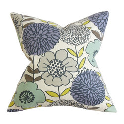 The Pillow Collection - Veruca Floral Pillow Blue - Transform your bedroom or living room with this youthful and lively accent pillow. This decor piece exudes freshness with its beautiful floral details in purple, blue, gray, white and yellow hues. This throw pillow is crafted from the finest cotton material to ensure long lasting comfort and quality. Perfect for contemporary, traditional and classic styles. Hidden zipper closure for easy cover removal.  Knife edge finish on all four sides.  Reversible pillow with the same fabric on the back side.  Spot cleaning suggested.