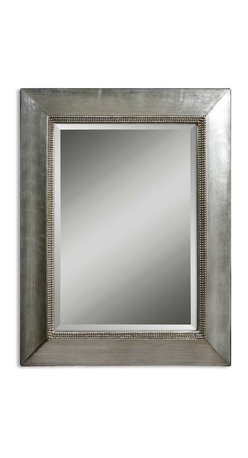 Uttermost - Fresno Antique Silver Mirror - Beware ... this 1920s influenced mirror will behold you.  In your living room, you might find yourself doing the Charleston and wearing long beads and a short skirt. The scratched antique silver leaf finish with black dry brushing lends depth and character. The beaded inner lip gives the frame an over-the-top look favored by art deco movement.