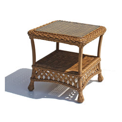 WickerParadise - Outdoor Wicker End Table - Montauk Shown in Natural - There's no end to the number of uses you'll find for this handsome aluminum-framed wicker end table. Featuring an inset glass top and extra storage shelf, this end table coordinates beautifully with other pieces from the Montauk outdoor furniture line.