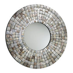 Cyan Design - Cyan Design Mosaic Tile Round Mirror X-89720 - A wide frame with mosaic tile patterning adds contemporary interest to this Cyan Design round mirror. The Capiz shell tiles shimmer and dazzle in the light thanks to their iridescent qualities, which adds to the upscale look and feel of this contemporary mirror.