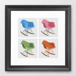 """Pop Rocker Print - This pop art–inspired gallery-quality giclée print features four identical mid-century rocker chairs grouped together, painted, and then digitally tweaked. It is printed on natural white, matte, ultra smooth, 100% cotton rag, acid and lignin free archival paper using Epson K3 archival inks, and is custom trimmed with 1"""" border for framing."""