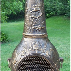 Oakland Living - Frog Chimenea Fire Pit - Fade, chip and crack resistant. Brass hardware. Fit three to five logs or use charcoal for grilling