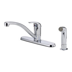 Pfister - Pfister G134-7000 Single Handle Kitchen Faucet with Spray Multicolor - 519623 - Shop for Kitchen from Hayneedle.com! Keep your kitchen cooking in style with the Pfister G134-7000 Single Handle Kitchen Faucet with Spray and its sleek design. Made from solid brass you won't need to worry about bacteria or corrosion getting a hold on this faucet. The high-arcing and swiveling spout gives unobstructed access to the basin for the largest of cookware. You can conveniently rinse produce and dishes thanks to the matching side sprayer always within reach. This faucet even runs at an efficient 1.75 gallons per minute without sacrificing power.Product Specifications:Mount Type: Deck MountHandle Style: LeverValve Type: Ceramic DiscFlow Rate (GPM): 1.75Swivel: 360 degreesSpout Height: 5.8-inchSpout Reach: 10-inchAbout PfisterPfister has been one of the most trusted names in the plumbing industry since they opened their doors in 1910. Since then they have created a legacy of excellence in design and engineering that has made them an innovative leader in the industry creating superior kitchen and bath faucets fixtures and accessories. They are continually exploring ways to meet eco-friendly standards and user-friendly products that cater to the needs of our environment.