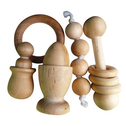 Urban Homesteaders - Wood Baby Toy Gift Set, Wood - This Montessori-inspired wooden baby toy set is the perfect gift for a new mom, or for your own little one. The gift set includes four toys, packaged in a natural muslin drawstring storage bag.
