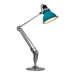 Anglepoise - Type 1228 Desk Lamp - Anglepoise - Designed by Kenneth Grange, the Type 1228 is a brand new addition to the Anglepoise range. When turned off, the colorful shades are the perfect pop of color for your desk or workstation. Then with the flip of a switch, the bulb illuminates the double layer polycarbonate shade as it glows making it almost a completely different color. The transformation is subtle in the case of the orange, green, white and blue lamps. The graphite shade transforms more dramatically to a light grey color. Made with aluminum arms and a heavily weighted base for extra stability. Available in five colors (green, orange, blue, white & graphite). With its broad range of movement and classic looks it will suit a wide range of uses from reading in your arm chair to working at your desk. Perfect in either the home or the office. Accepts 60 watt max bulb.